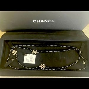 NWT Chanel Long Necklace BlackFaux Pearl Crystal